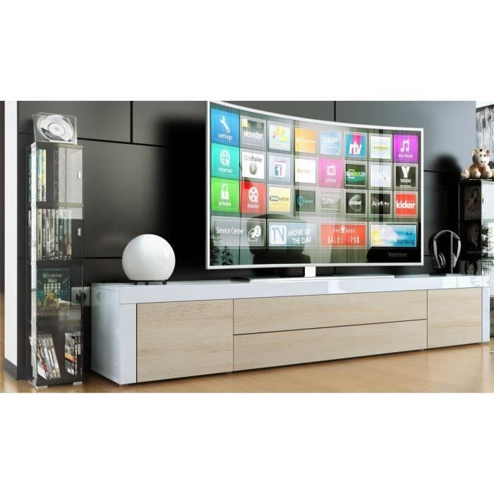meuble tv blanc bois brut et blanc 200cm achat vente. Black Bedroom Furniture Sets. Home Design Ideas