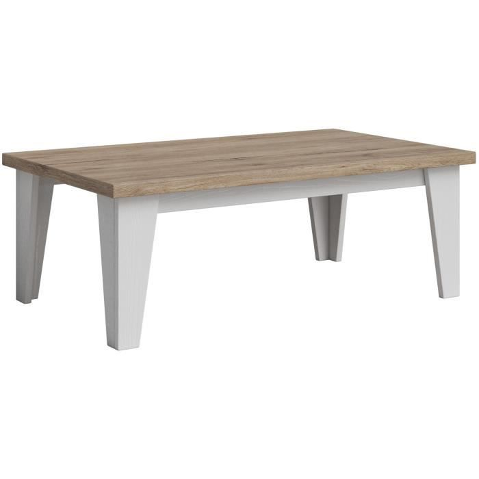 Table basse 100x40 cm coloris ch ne et blanc ch ne blanc for Table basse blanc et chene