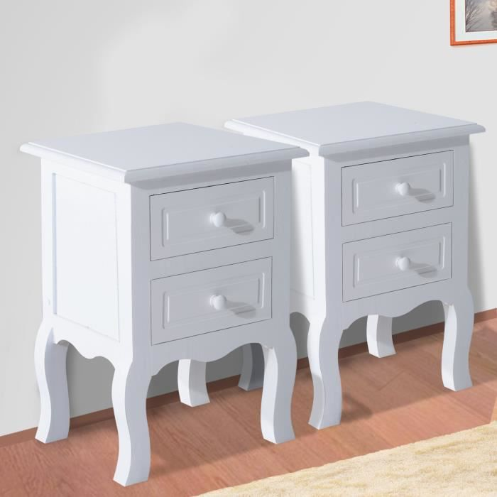 lot de 2 tables chevet chambre en mdf blanc neuf84 achat. Black Bedroom Furniture Sets. Home Design Ideas