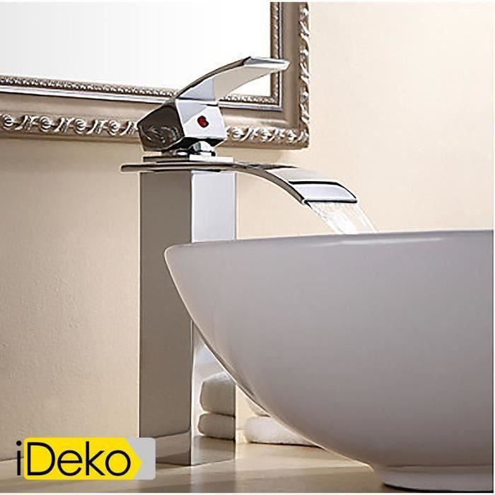 ideko robinet mitigeur lavabo salle de bain personnalis e vier robinet cascade contemporaine. Black Bedroom Furniture Sets. Home Design Ideas