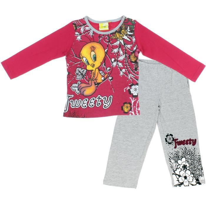 pyjama tweety 4 au 12 ans rouge rouge achat vente. Black Bedroom Furniture Sets. Home Design Ideas