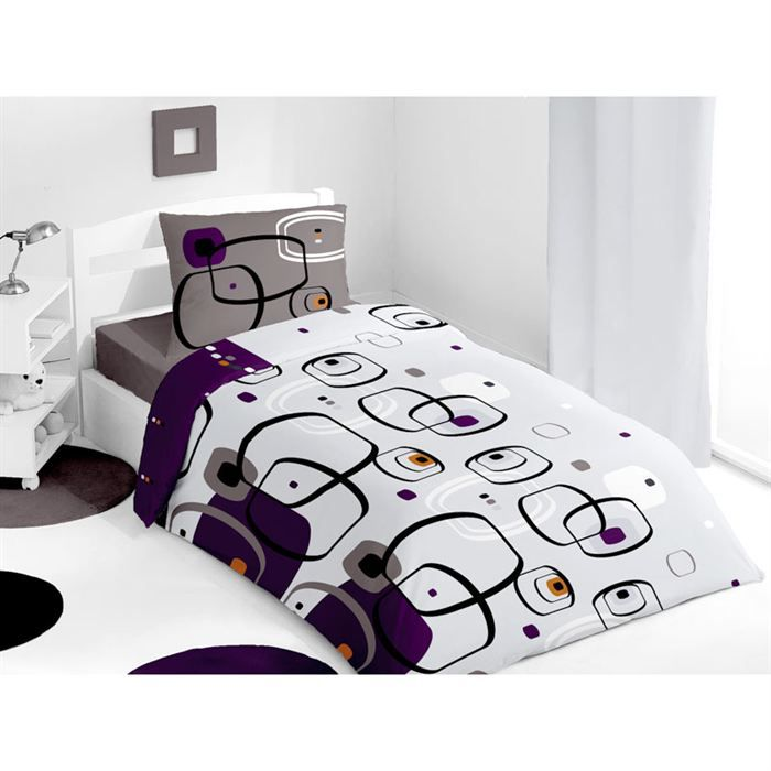 housse de couette pablo prune achat vente parure de couette cdiscount. Black Bedroom Furniture Sets. Home Design Ideas