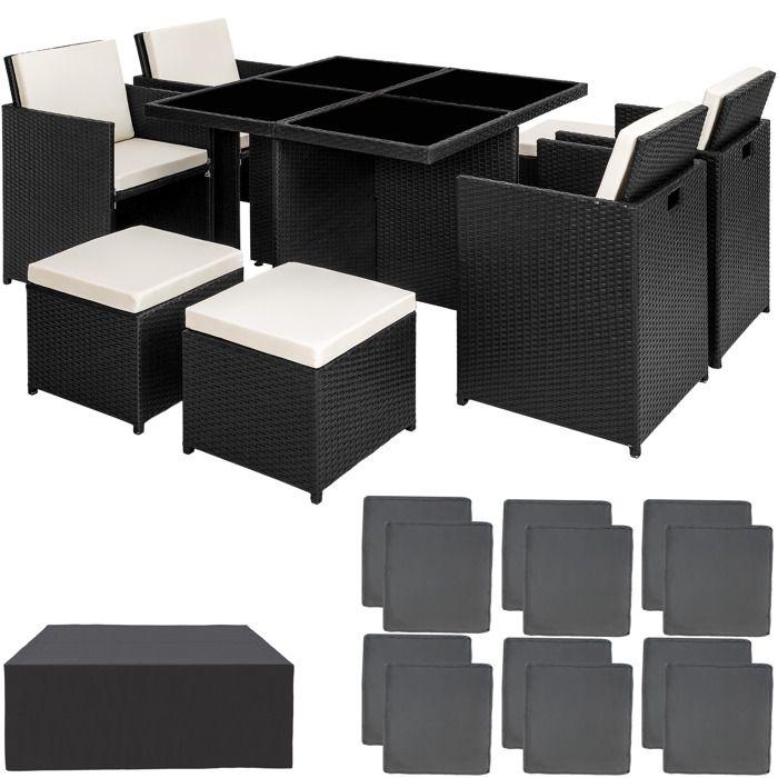 TECTAKE Salon de jardin MANHATTAN - 4 Chaises 4 Tabourets 1 Table en Résine  Tressée structure Aluminium Noir