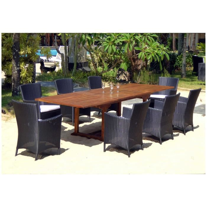 Salon de jardin xxl table en teck 300 cm 8 fauteuils en for Vente table jardin