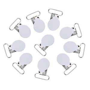 Gray 10pcs 25mm Forme Ronde Clips de Sucette en M/étal Clips de Jarretelle pour Anneau de Dentition Jouets Hilitand Porte-T/étine