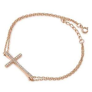 BRACELET - GOURMETTE Bracelet Croix Femme - Argent Fin 925/1000 Plaq...