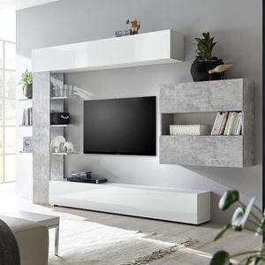 MEUBLE TV Ensemble meubles tv blanc et gris design FINO 2 Gr