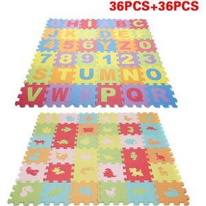 TAPIS DE JEU 72 Pcs Puzzle tapis mousse alphabet et chiffres +