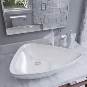 TecTake Lavabo /à Poser en c/éramique Vasque rectangulaire Salle de Bain dangle Blanc Type 4 Lavabo /à Poser | no. 402572