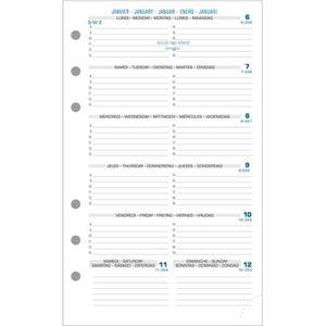 AGENDA - ORGANISEUR Recharge Exatime 17 semainier millésimé semaine su