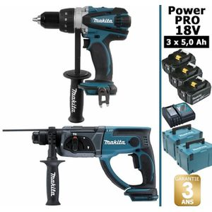 PERCEUSE Pack Power PRO 18V: Perceuse 91Nm DDF458 + Perfora