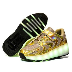 pour Filles Gar/çons et Gar/çons Unisexes Sports de Plein Air KOWO Chaussures//Baskets /à LED Unique Double R/étractables Roues Rechargeables Chaussures de Patinage /à roulettes Lumineuses LED