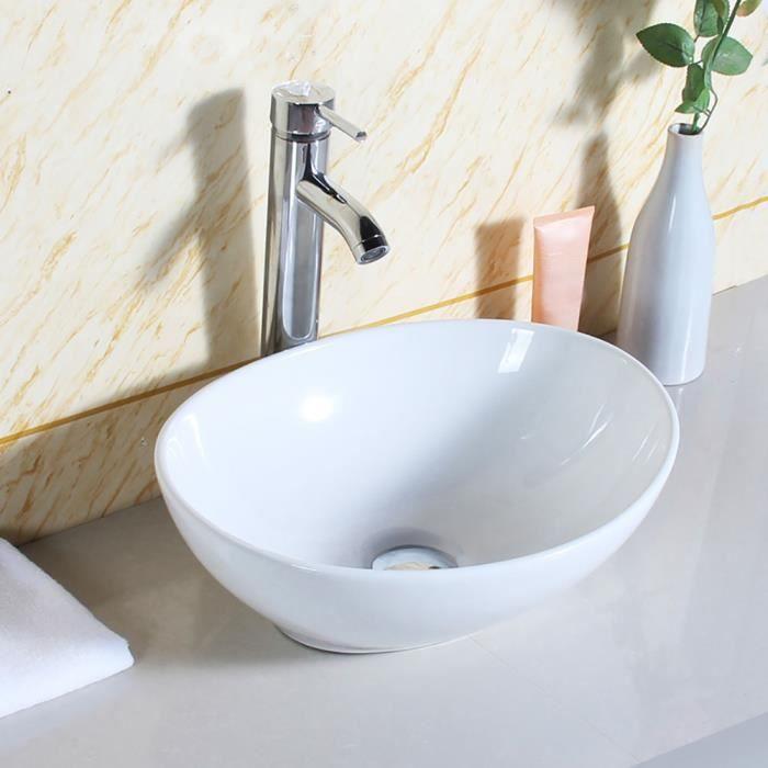 Lavabo de salle de bains moderne de forme ovale lavabo en céramique blanche de haute qualité pour vestiaire -CWU