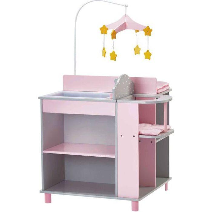 Table à langer pour poupon ou poupée avec rangement jouet Olivas Little World TD-0203AG