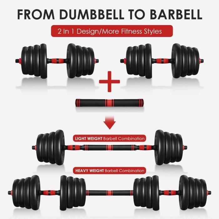 2 en 1 Haltère 30kg poids ajustables - (4 x 2.5 kg / 2 kg / 1.5kg / 1.25kg)