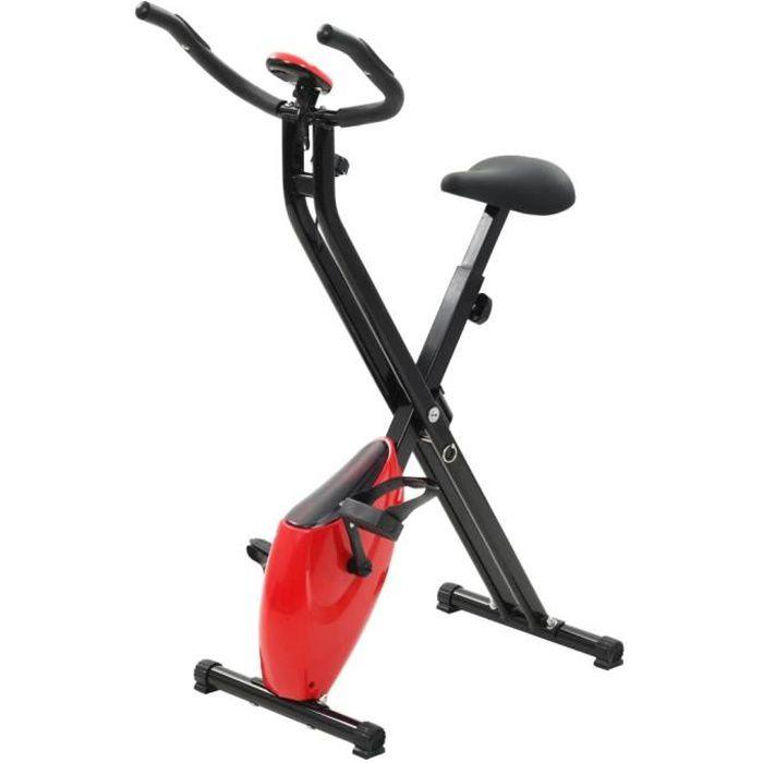 YULINSHOP Vélo d'appartement pliable Magnétique Xbike 2,5 kg Noir Rouge