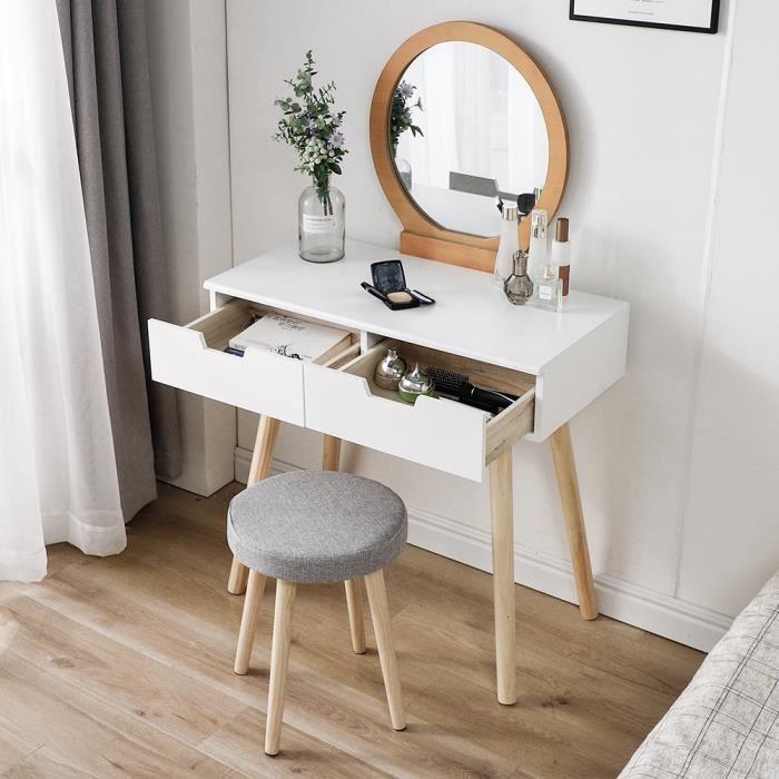 Coiffeuse Table de Maquillage avec 2 Tiroirs/Miroir en forme lune/Tabouret, Design Magnifiquement sculpté Blanche et couleur de boi