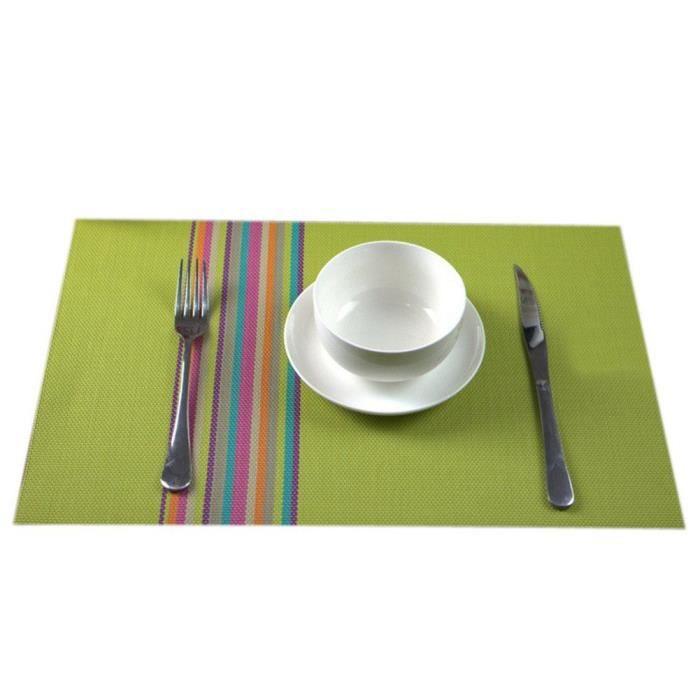 4 Pcs Set de table PVC Napperon De Table 45 x 30cm Rayures Décoration Vert
