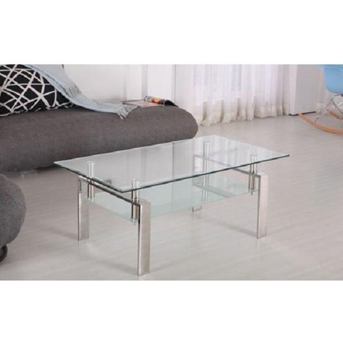 Table Basse Moderne et Design Verre et Inox TAVOLINI