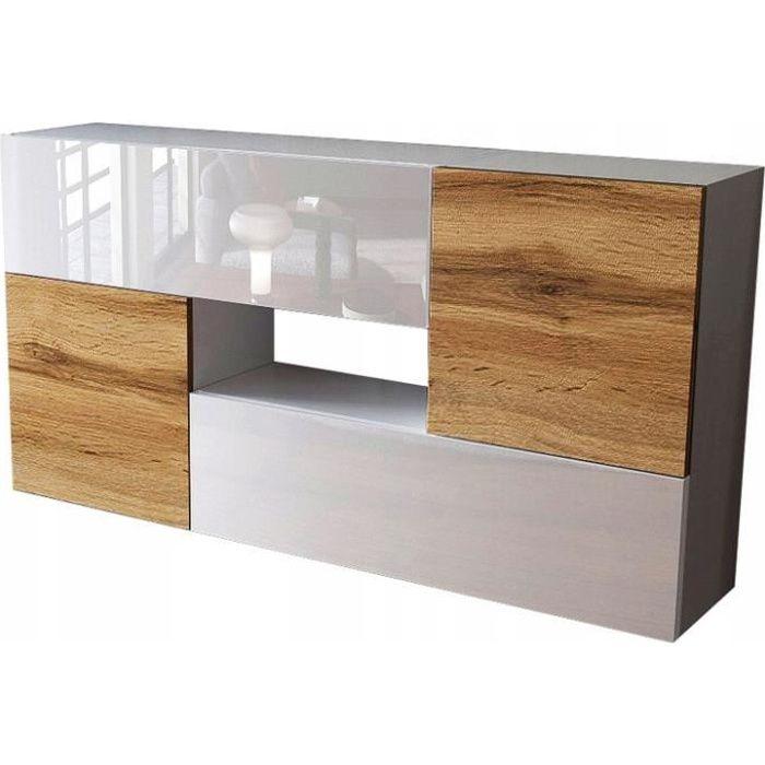 Ensemble de 4 meubles suspendus blanc/ blanc/ chêne wotan