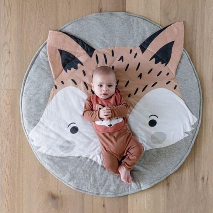 Tapis d'éveil,Bébé tapis de jeu jouets pliable enfants ramper couverture tapis dessin animé animaux rond tapis coton - Type 20