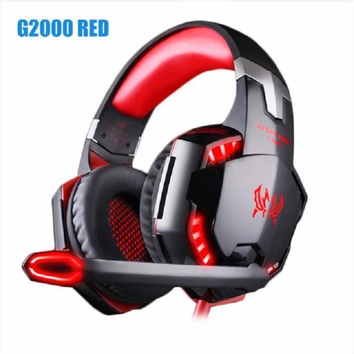 Casque G2000- casque stéréo basse et microphone de jeu- casque filaire rouge