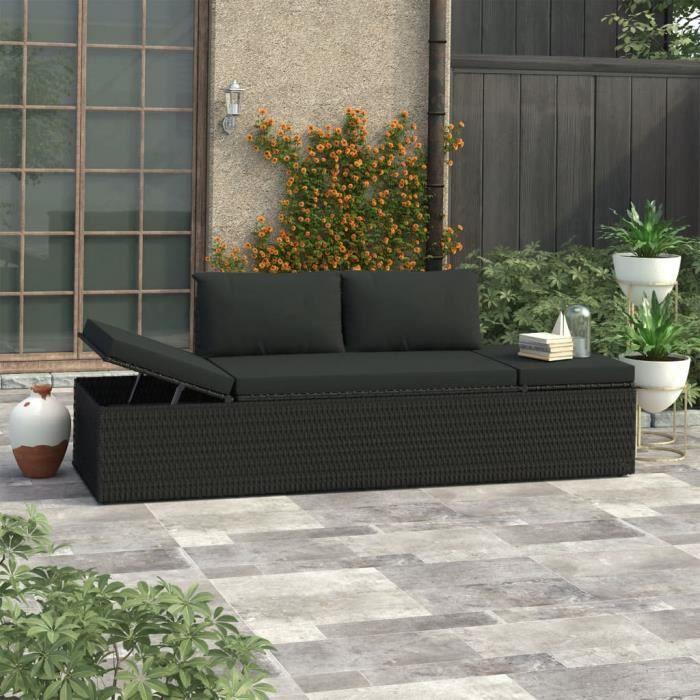 MBP® Bain de Soleil Chaise de jardin Haut de gamme - Lit de repos d'extérieur avec coussins Résine tressée Noir 389990