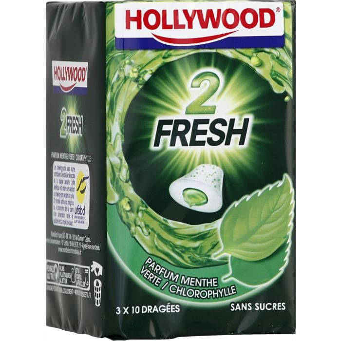 Hollywood 2Fresh chewing-gum menthe verte sans sucres 30 dragées