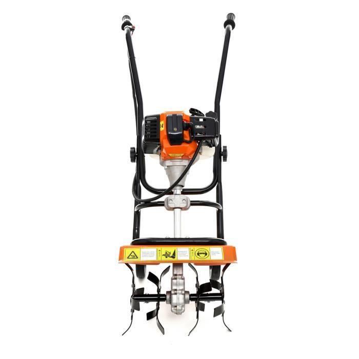 DCRAFT - Motobineuse à essence 52 cm³ puissance: 3,8KW - Outil jardinage thérmique - Fraises robustes - Régime: 6500 tours/ min -