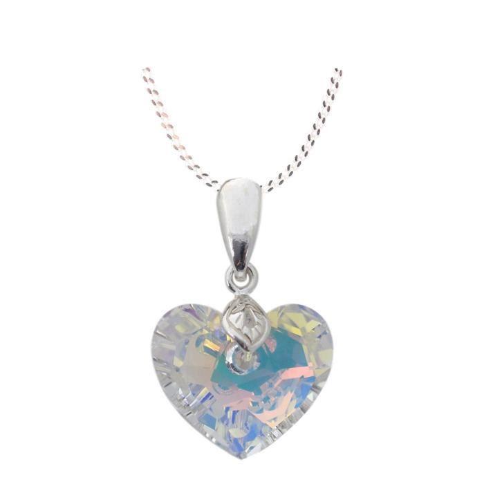 Crystals & Stones – Truly in Love – Couleur Crystal AB avec Argent Chaîne en Argent 925 avec pendentif Swarovski® Elements origin