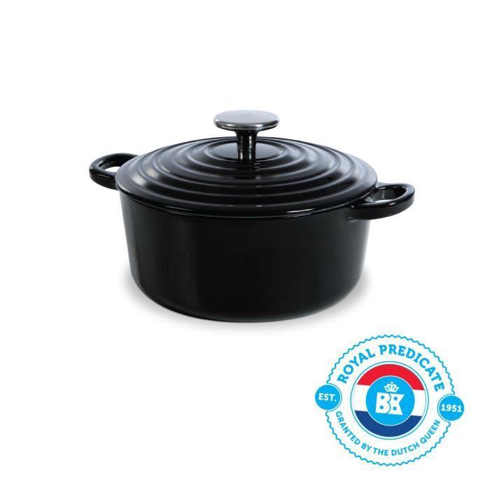 BK Cookware H6071.520 BK Bourgogne Cocotte en Fonte Ronde - 20 cm - 2.5L - Revêtement émaillé - Couvercle avec Anneaux