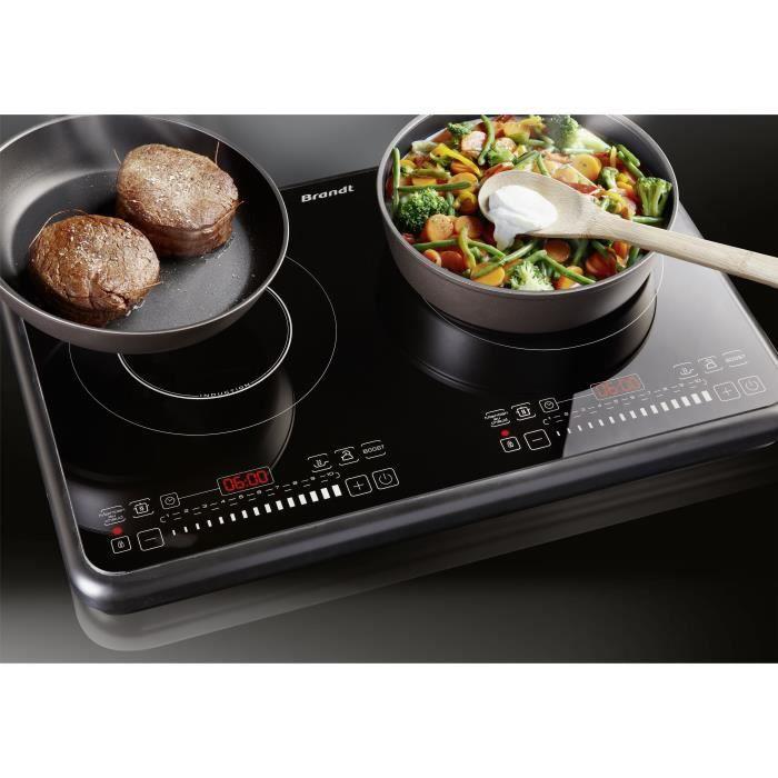 BRANDT TI2FSOFT Table de cuisson posable 2 foyers à induction Noir