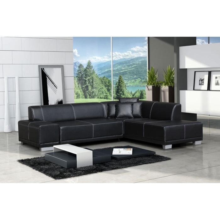 Canapé d'angle moderne William - noir -Angle droit