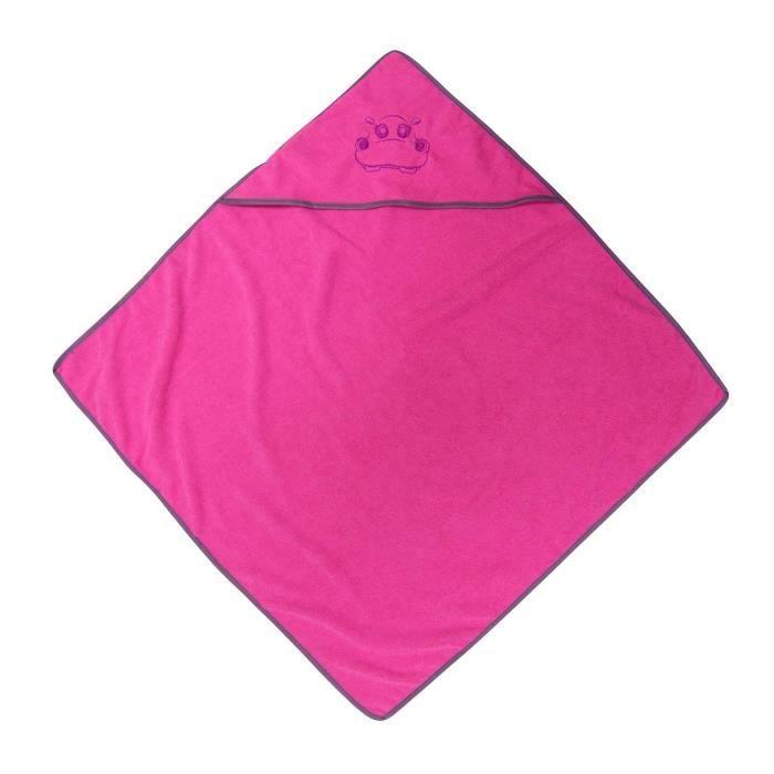 Cape de bain rose pour bébé 75x75cm