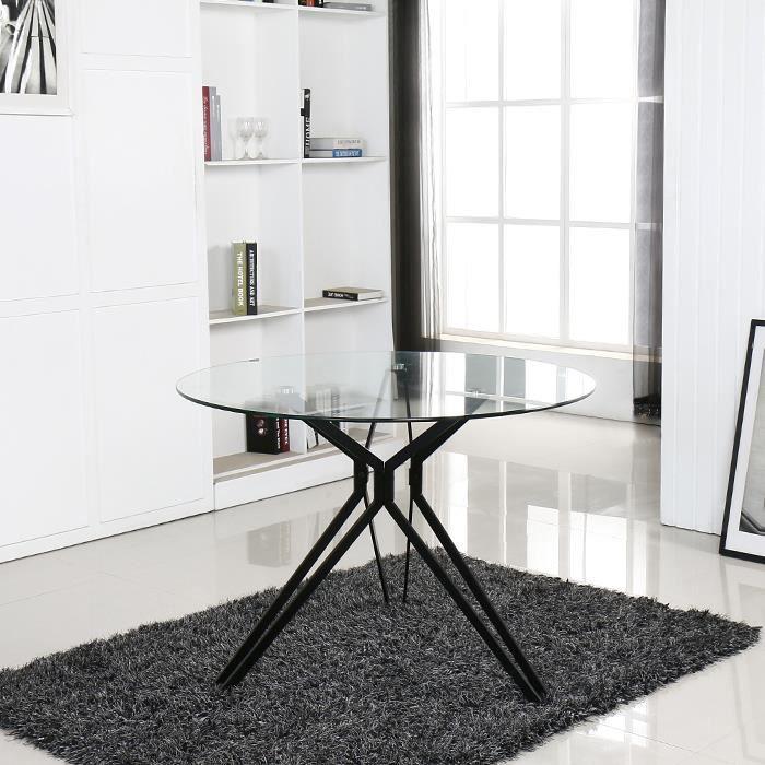 Table à manger ronde design en verre - Matera - DESIGNETSAMAISON