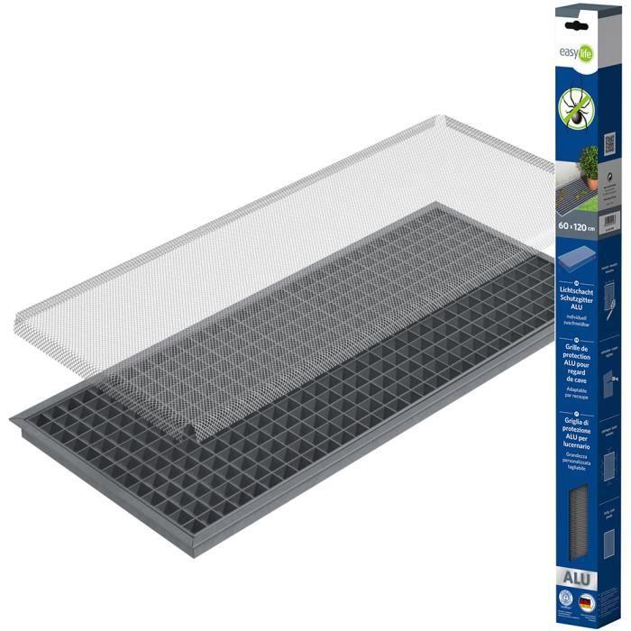 easy life Grille protection de lucarne en aluminium 60 x 120 cm greenLINE pour les puits de lumière – Grille pour fenêtres de cave