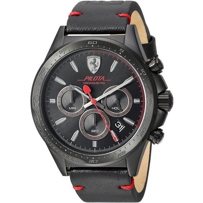 Ferrari Homme 45mm Bracelet Cuir Noir Quartz Analogique Montre 830434