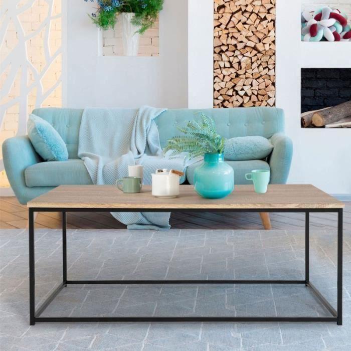 Table basse design industriel bois et métal noir