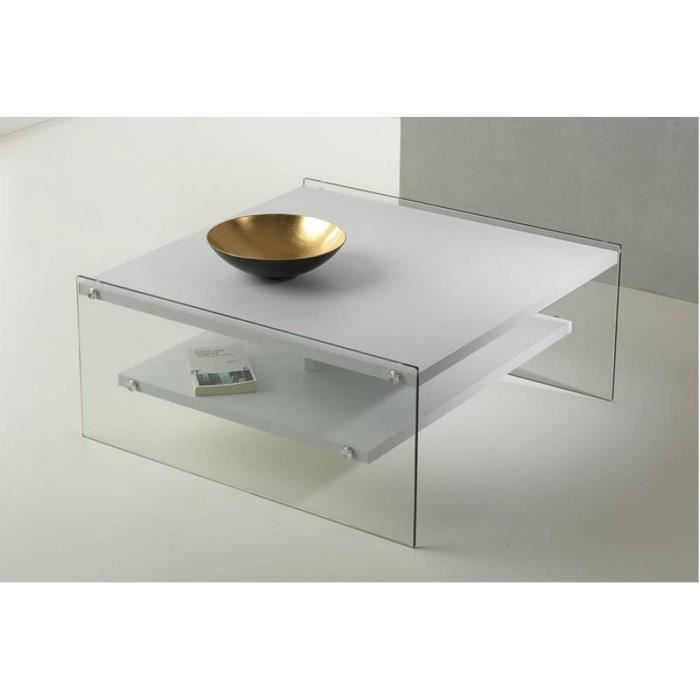 Table basse BELLA 2 plateaux blanc mat piétement en verre blanc verre trempé Inside75