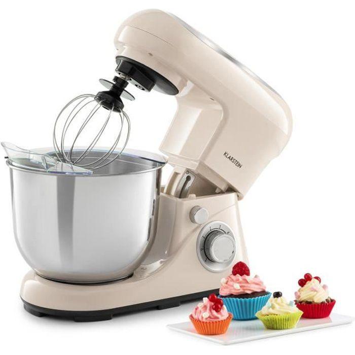 Klarstein Bella Pico 2G Robot de cuisine multifonction - Bol 5 litres - 6 vitesses - 1200W - Crème