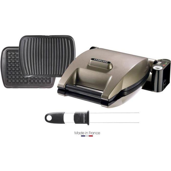 LAGRANGE 019323 Gaufrier Premium + 2 jeux de plaques Gaufres et Panini/Grill viande + Pic à gaufres - Taupe