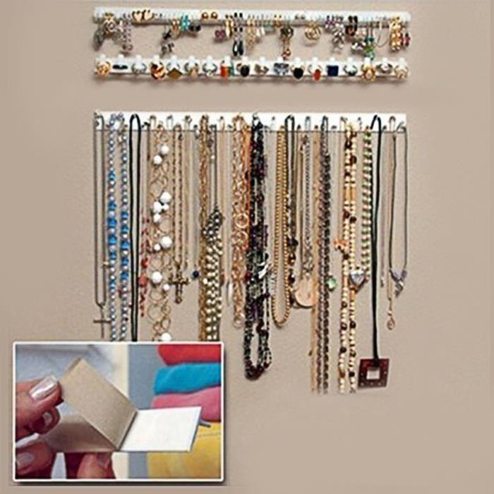 9 pcs Support de bijoux murale autocollant organiseur de bracelet de collier d'affichage de bijoux