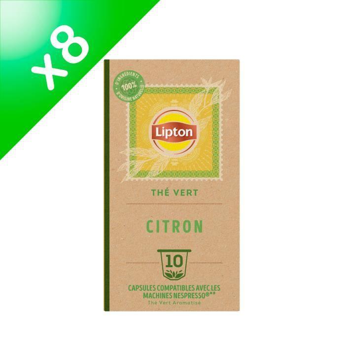 [LOT DE 8] LIPTON Thé Vert Citron - Bio - Compatible machine Nespresso - 8 x 10 capsules