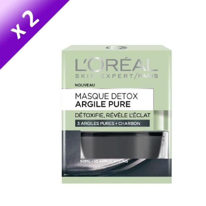 [LOT DE 2] L'ORÉAL PARIS - Masque Visage Détox Argile Pure - 50 ml