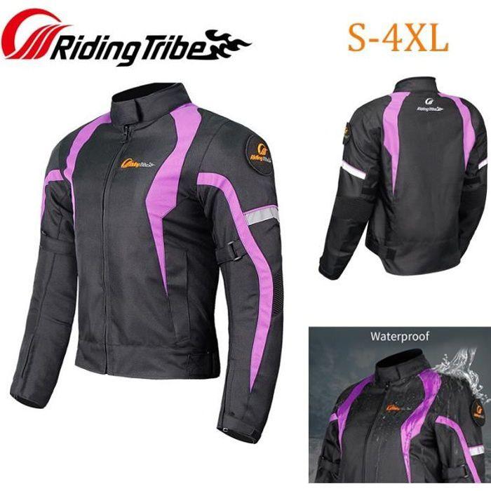 Veste de moto pour femme Combinaison de sécurité imperméable pour femme avec équipement de protection et doublure imperméable S-4XL