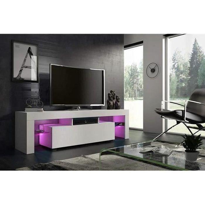 Meuble tv 160 cm blanc mat avec led