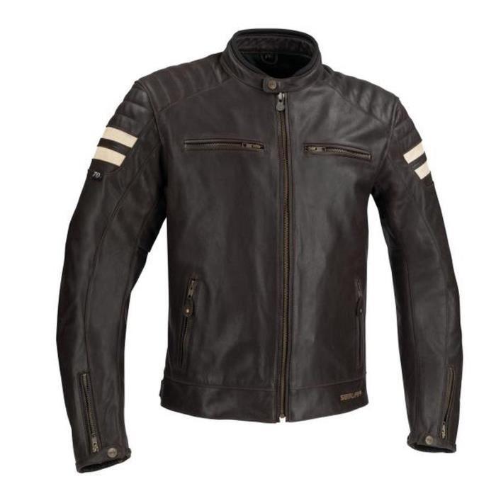 SEGURA Blouson de moto Stripe - Marron / Beige