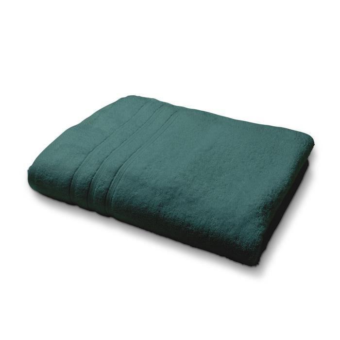TODAY Drap de bain - 100% coton 500 g/m²- 70 x 130 cm - Vert émeraude