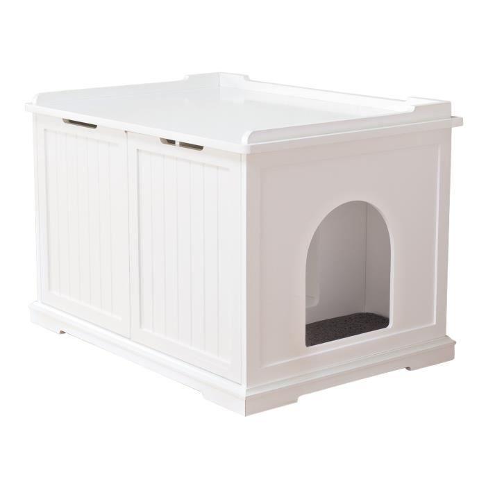 TRIXIE Cabine de toilette - 75 x 51 x 53 cm - Blanc - Pour chat