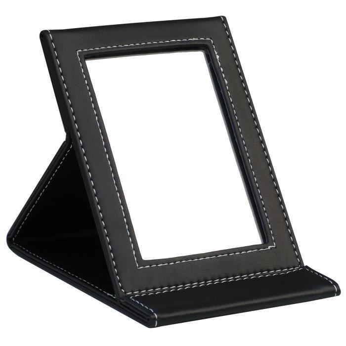 TRIXES Miroir Pliant en PU Noir